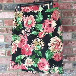 Talbots Floral Print Pencil Skirt